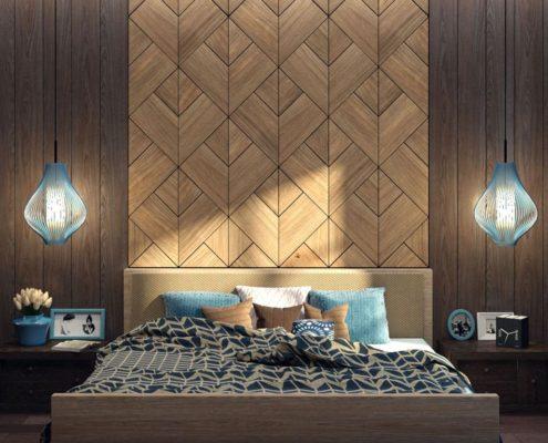 отделка стен панелями в спальне