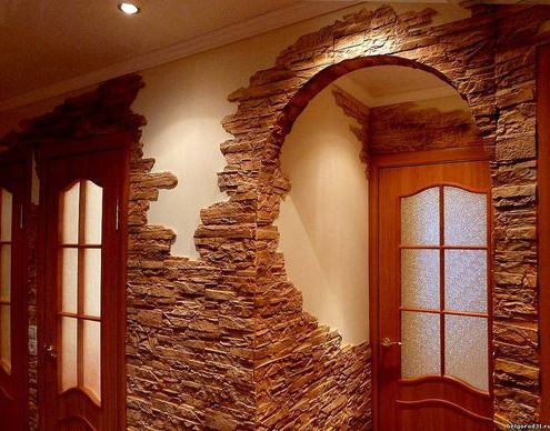 отделка поверхности декоративным камнем