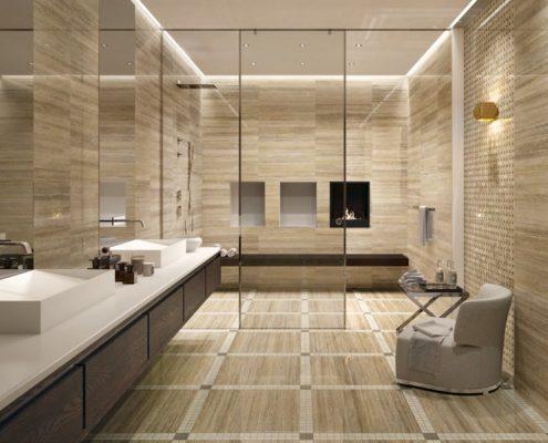 отделка стен камнем в ванной