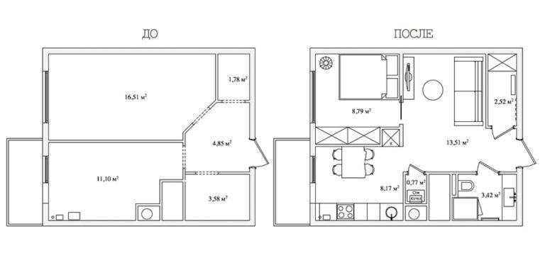 перепланировка трехкомнатной квартиры схема