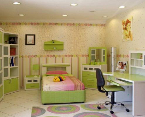 ремонт детской комнаты в фисташковом цвете